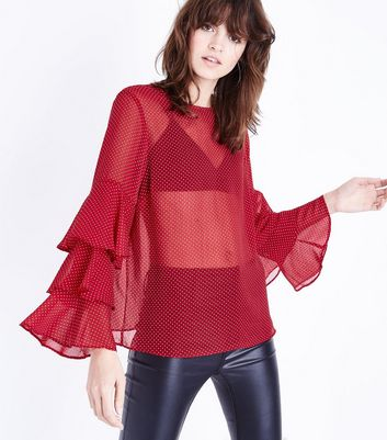 Red Spot Mesh Layered Long Sleeve Top