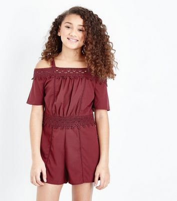 Teens Burgundy Crochet Trim Playsuit
