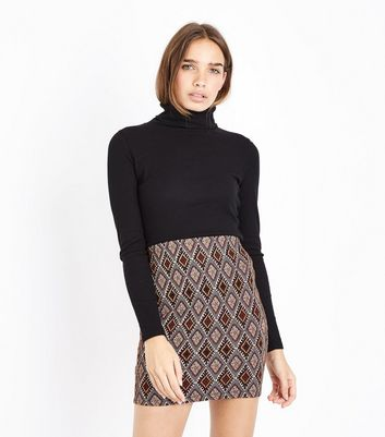 Tall Black Diamond Jacquard Tube Skirt