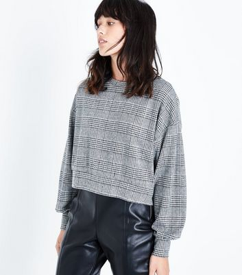 Black Houndstooth Check Cropped Jumper