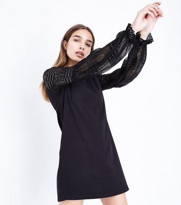 Black Lace Balloon Sleeve Shift Dress