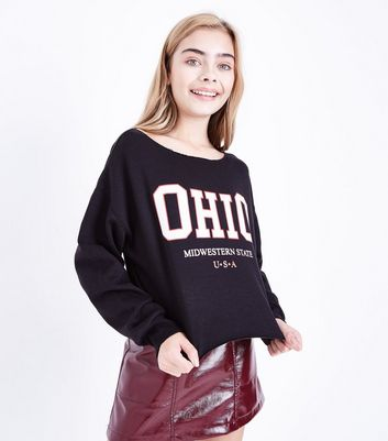 Teens Black Ohio Off The Shoulder Sweater