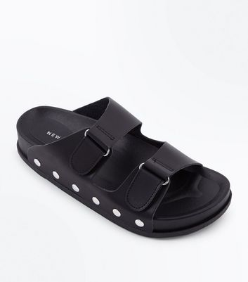 Black Double Strap Stud Side Sliders