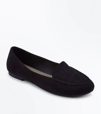 Black Suedette Cross Stitch Embroidered Loafers