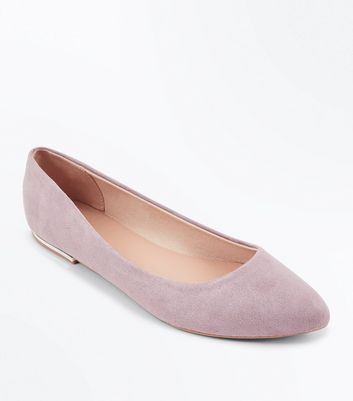 Lilac Suedette Metal Heel Pointed Pumps