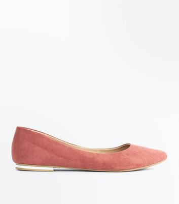 Pink Suedette Metal Heel Pointed Pumps