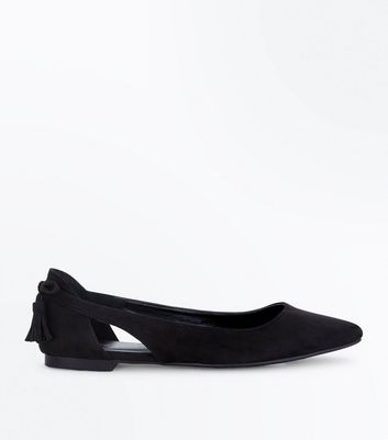Black Suedette Tassel Bow Back Pointed Pumps