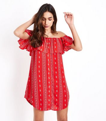 Red Aztec Print Bardot Neck Beach Dress