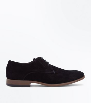 Black Faux Suede Stitch Side Derby Shoes