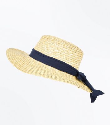 Stone Ribbon Floppy Boater Hat