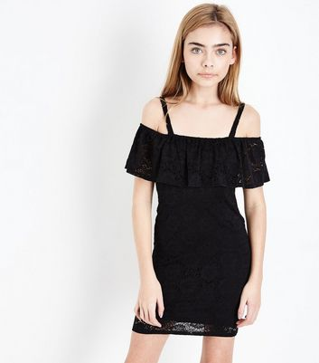 Teens Black Lace Bardot Neck Bodycon