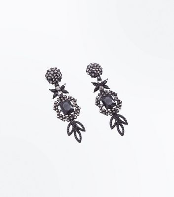 Pewter Gem Embellished Flower Chandelier Earrings