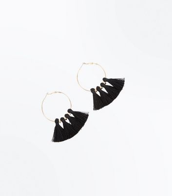 Black Tassel Hoop Earrings