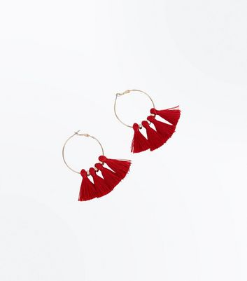 Red Tassel Hoop Bead Earrings