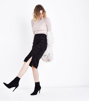 Black Suedette Lace Up Pencil Skirt