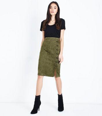 black vinyl mini skirt khaki suedette lace up pencil skirt