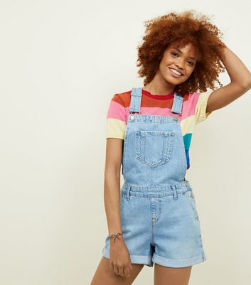 Blue Light Wash Denim Short Dungarees