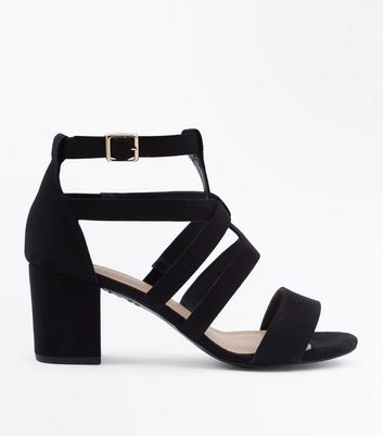 Black Comfort Flex Suedette Heeled Gladiator Sandals