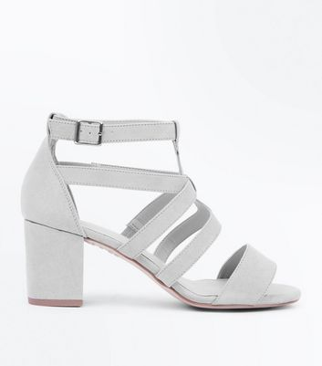 Grey Comfort Flex Suedette Heeled Gladiator Sandals