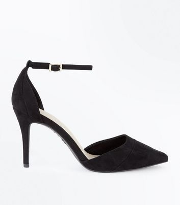 Black Comfort Flex Suedette Pointed Court Shoes