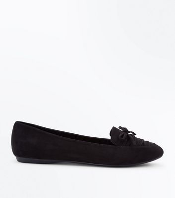 Wide Fit Black Suedette Lace Up Pointed Loafers