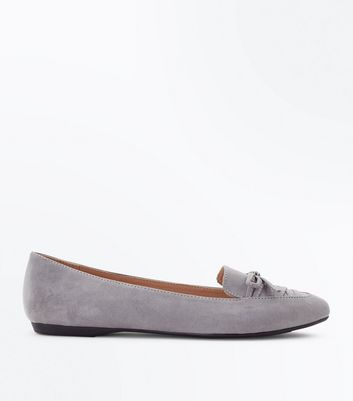 Wide Fit Grey Suedette Lace Up Pointed Loafers