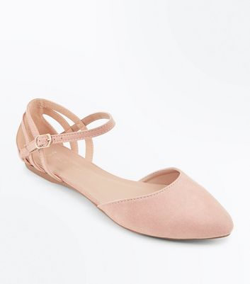 Wide Fit Nude Suedette Caged Back Pumps by New Look
