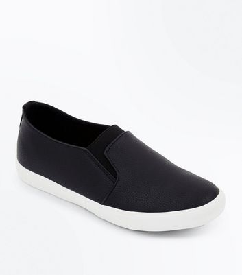 Wide Fit Black Elasticated Front Slip On Trainers