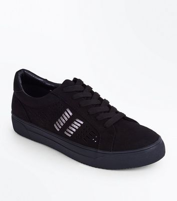Black Suedette Cut Out Metallic Panel Trainers