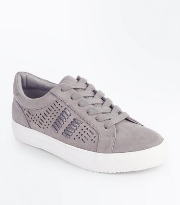 Grey Suedette Cut Out Metallic Panel Trainers