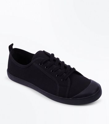 Black Canvas Lace Up Trainers