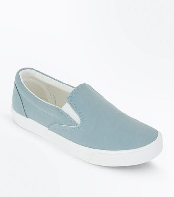 Pale Blue Suedette Slip On Trainers