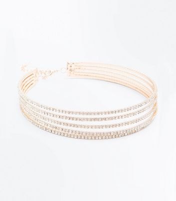 Gold Diamante Layered Choker
