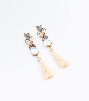 Gold Crystal Tassel Earrings