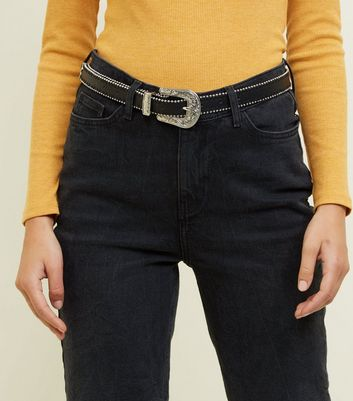 Black Pearl Trim Western Belt
