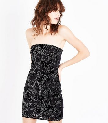 Parisian Black Velvet Embellished Bandeau Dress