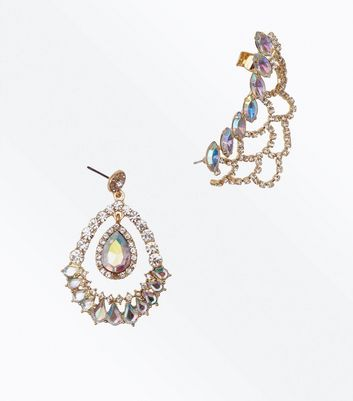 Gold Gem Embellished Ear Cuff and Chandelier Earring