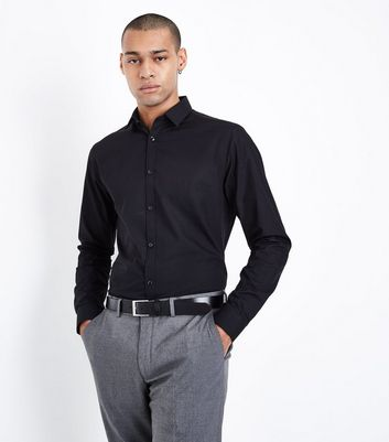 Black Poplin Long Sleeve Shirt
