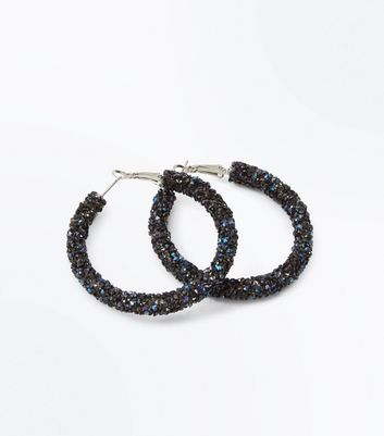 Navy Stone Embellished Hoop Earrings