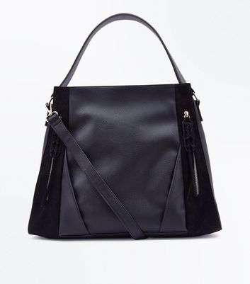 Black Zip Front Contrast Panel Shopper Bag