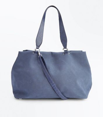 Navy Blue Slouchy Tote Bag