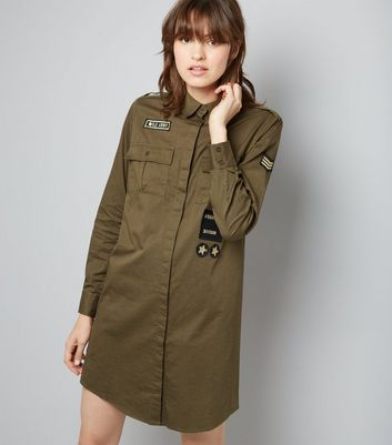 Green Military Embroidered Patch Shirt Dress