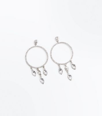 Silver Diamante and Gem Hoop Earrings
