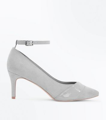 Wide Fit Grey Suedette Patent Panel Courts
