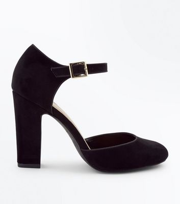 Wide Fit Black Suedette Round Toe Courts