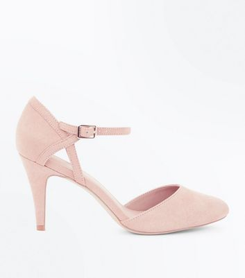 Wide Fit Nude Suedette Ankle Strap Court Shoes