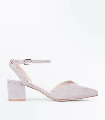 Wide Fit Grey Suedette V Front Pointed Courts