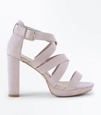 Wide Fit Grey Suedette Strappy Platform Sandals