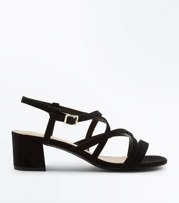 Wide Fit Black Suedette Mid Heel Strappy Sandals