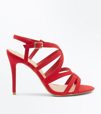 Wide Fit Red Suedette Strappy Stiletto Sandals